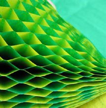 Honeycomb Paper x 1. 17cm x 25cm. Green/Yellow Duo Colours